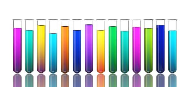 Kolorowe płyny w probówkach na białym tle