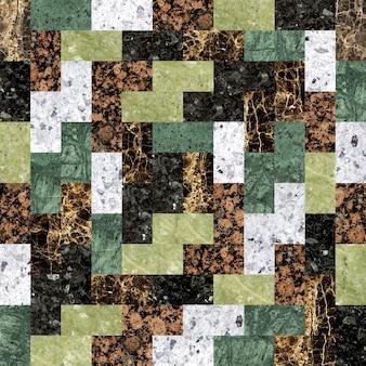 Kolorowe płytki podłogowe z granitu. mozaika z kamienia naturalnego.