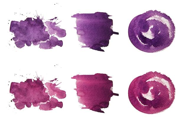 Kolorowe pociągnięcia pędzlem akwarela. farby akwarelowe. farba w kolorze lawendy