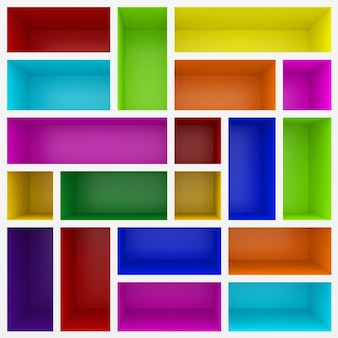 Kolorowe półki 3d do gabloty
