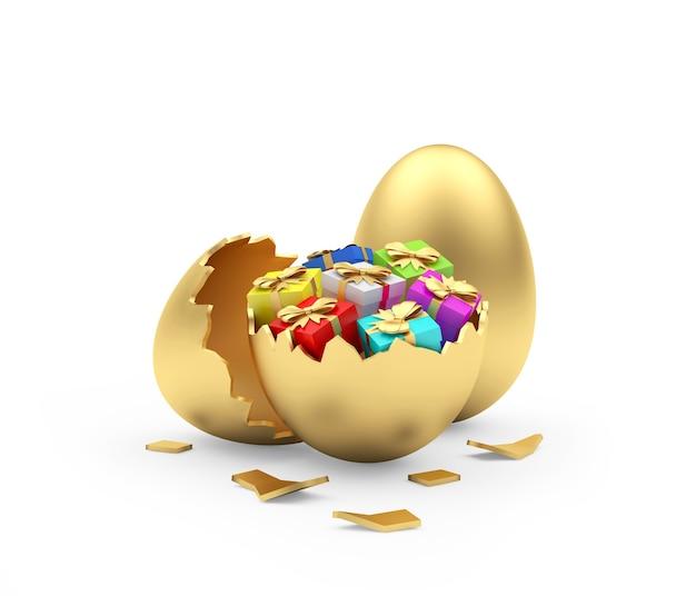 Kolorowe pudełka na prezenty w złotym rozbitym jajku obok całego złotego jajka.