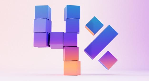Kolorowe pudełka tworzące liczbę cztery na białym tle, renderowanie 3d, do czterech procent