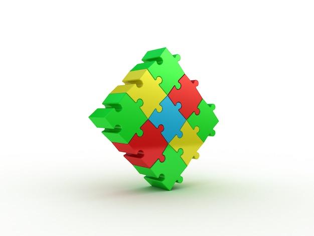 Kolorowe puzzle na białym tle. ilustracja 3d