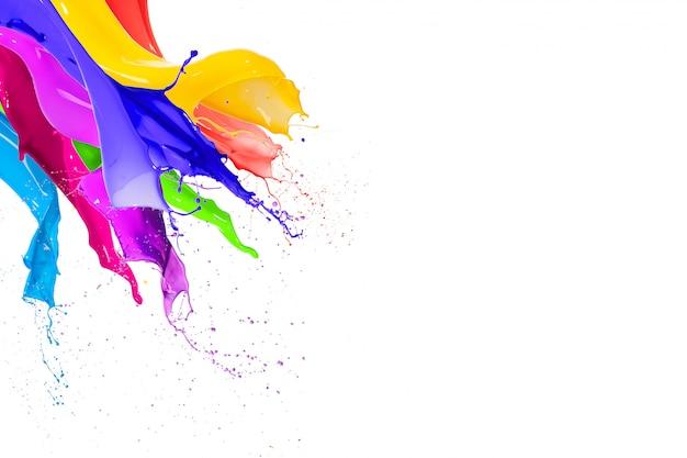 Kolorowe rozpryski farby w płynie