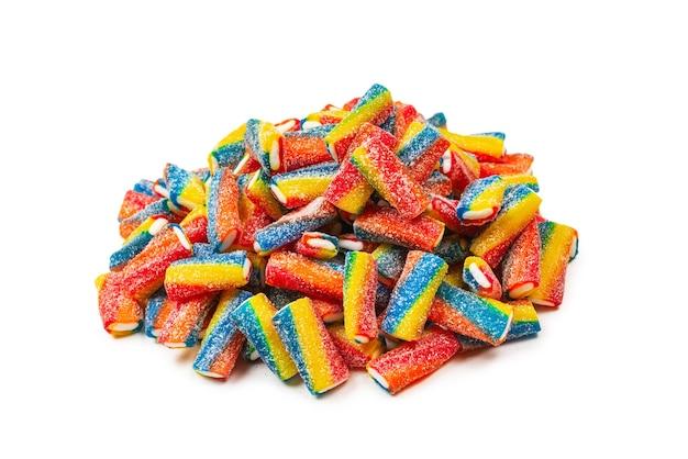 Kolorowe rurki galaretki cukierki widok z góry