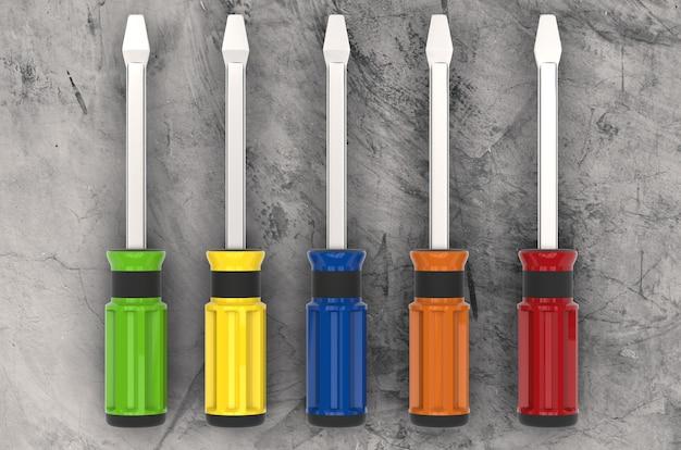 Kolorowe śrubokręty renderujące 3d