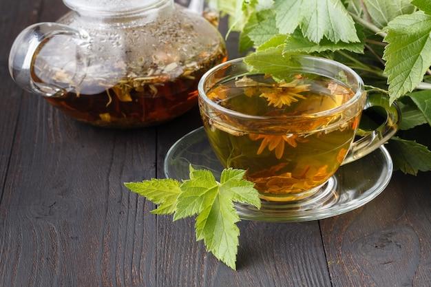 Kolorowe świeże ziołowe herbaty parzone w szklanych czajnikach