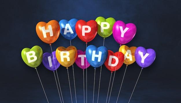 Kolorowe Szczęśliwy Urodziny Serce Kształt Balonów Na Czarnym Tle Sceny. . Renderowanie Ilustracji 3d Premium Zdjęcia