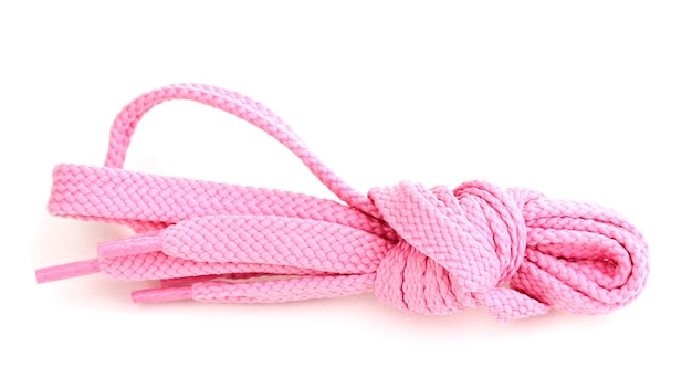 Kolorowe sznurowadła na białym tle