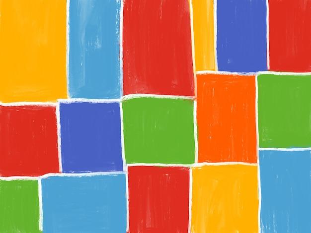 Kolorowe tło geometryczny kształt śliczny dziecinny plakat malowanie kwadratów i prostokątów
