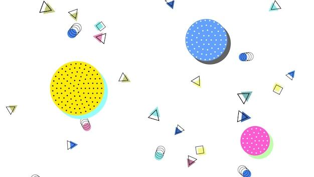Kolorowe tło memphis, abstrakcyjne geometryczne okręgi i trójkąty. elegancki i luksusowy dynamiczny styl dla szablonu biznesowego i korporacyjnego, ilustracja 3d