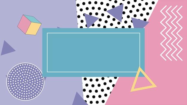 Kolorowe tło memphis, trójkątne abstrakcyjne kształty geometryczne. elegancki i luksusowy dynamiczny styl dla szablonu biznesowego i korporacyjnego, ilustracja 3d