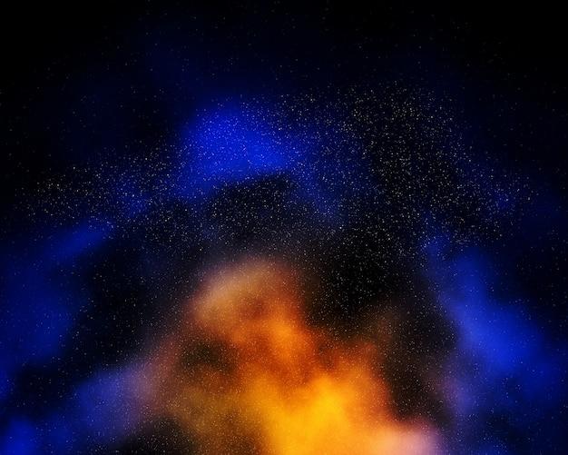 Kolorowe tło nocne niebo z mgławicy i gwiazd