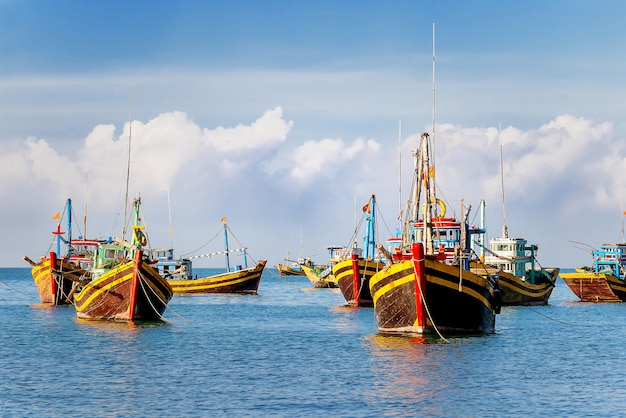 Kolorowe tradycyjne łodzie rybackie w pobliżu mui ne, binh thuan, wietnam.