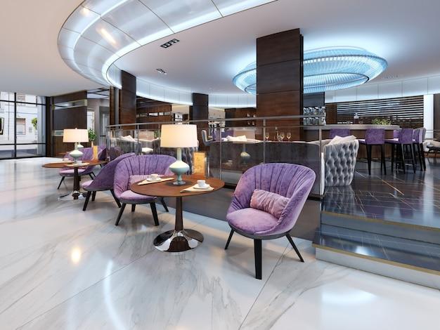 Kolorowe wnętrze kawiarni i restauracji z marmurową podłogą, okrągłymi drewnianymi stołami i tapicerowanymi fioletowymi krzesłami. renderowanie 3d
