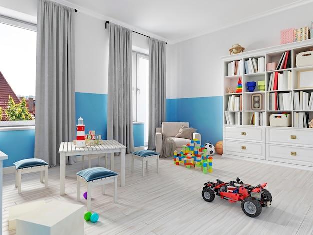 Kolorowe wnętrze pokoju dziecięcego z regałem, łóżkiem, poduszką, półkami i białym fotelem z kocem. renderowanie 3d