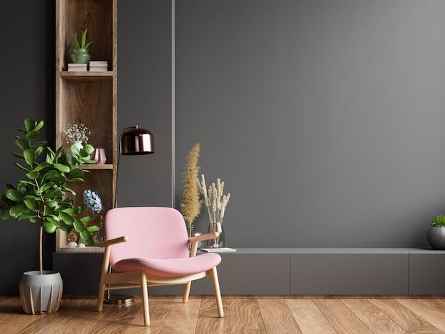 Kolorowe wnętrze z różowym fotelem na tle pustej ciemnej ściany, renderowania 3d