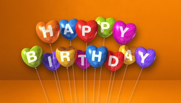 Kolorowe wszystkiego najlepszego z okazji urodzin balony w kształcie serca na pomarańczowej scenie. poziomy baner. renderowania 3d
