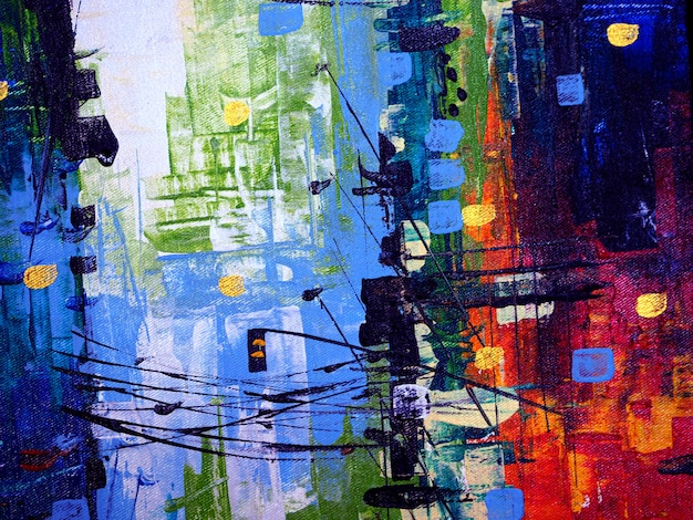 Kolorowego obrazu olejnego pejzażu miejskiego abstrakcjonistyczny tło i tekstura.