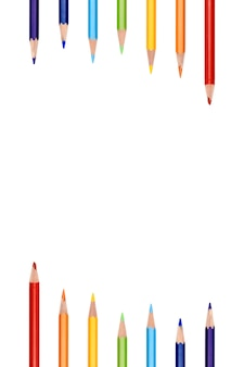 Kolorowej tęczy koloru ramy granicy ołówkowy tło. kolorowa ołówkowa kolor ramy granica na białym backgroun