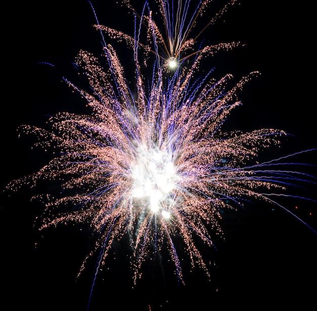Kolorowi fajerwerki na nocnym niebie
