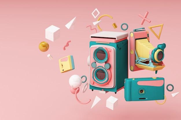 Kolorowy aparat zabytkowy otaczający wzór memphis na różowym tle.