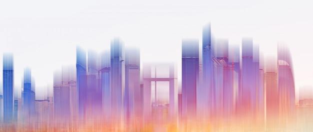 Kolorowy budynek panoramę miasta