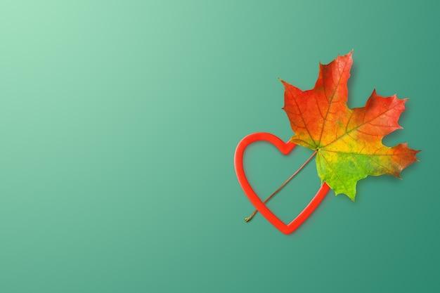 Kolorowy jesienny liść i serce na głębokiej mięcie