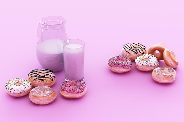 Kolorowy kubek z pączkiem i mlekiem na pastelowym fioletowym tle. renderowanie 3d