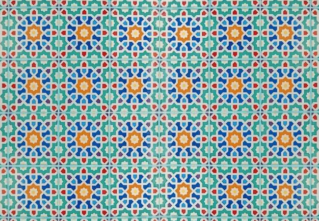 Kolorowy kwiatowy wzór płytek ceramicznych dekoracja ścienna tekstura tło