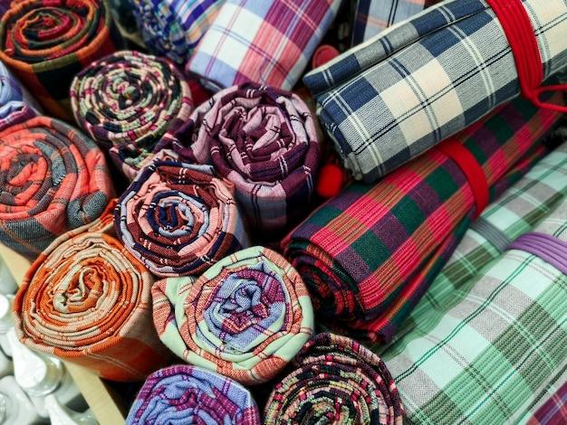 Kolorowy multi kolor bawełniany materiał w kratkę wzór tła.