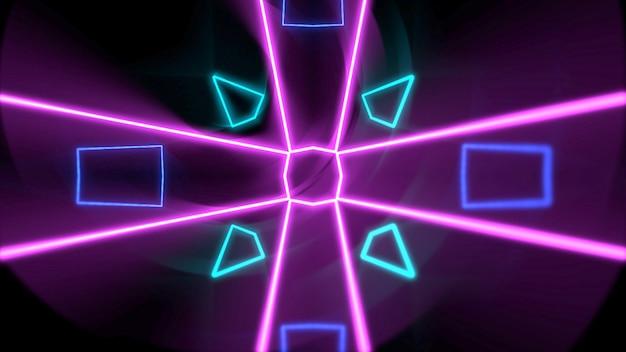 Kolorowy neon fioletowy i niebieski geometryczny kształt w przestrzeni, abstrakcyjne tło. elegancka i luksusowa dynamiczna ilustracja 3d w stylu klubowym