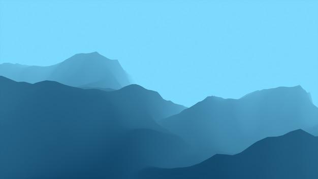 Kolorowy nierealny lot nad kanionem i górami