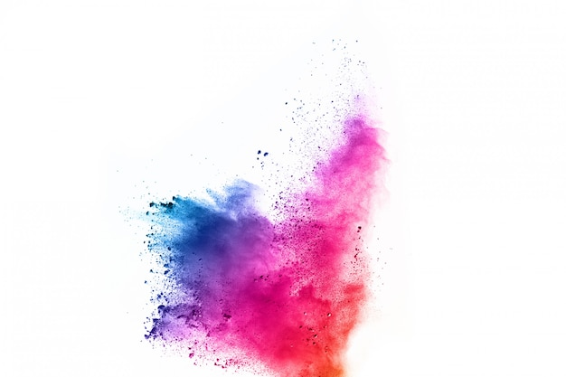 Kolorowy prochowy wybuch na białym tle.
