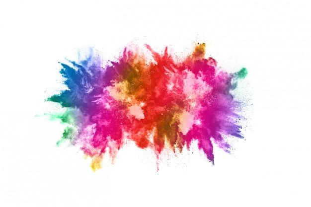 Kolorowy prochowy wybuch na białym tle