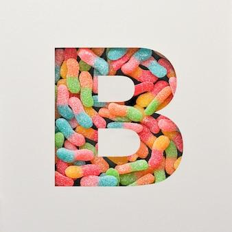 Kolorowy projekt czcionki, abstrakcyjna czcionka alfabetu z galaretką, realistyczna typografia - b