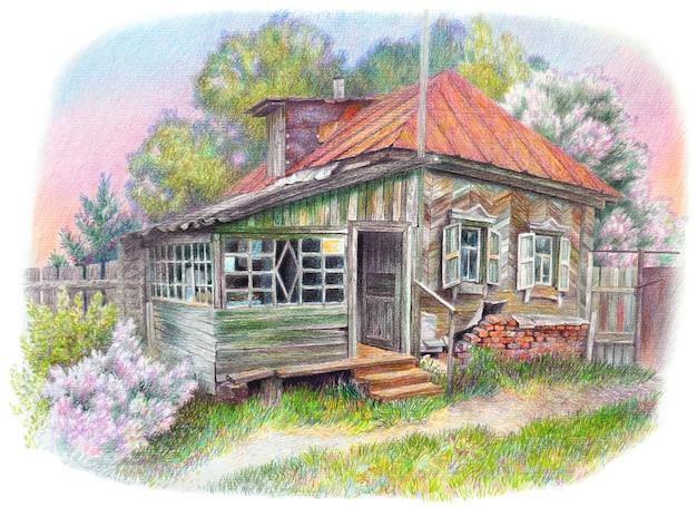 Kolorowy realistyczny rysunek domu starej babci. wiejski dom w tle krajobrazu