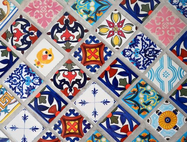 Kolorowy retro stary płytki mozaiki rocznik tafluje tekstury tło
