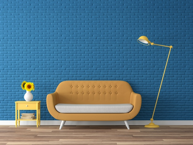 Kolorowy salon 3d rendergranatowa pusta ceglana ścianadekoruj z żółtą sofą z tkaniny
