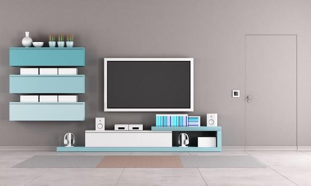 Kolorowy salon z szafką pod telewizor