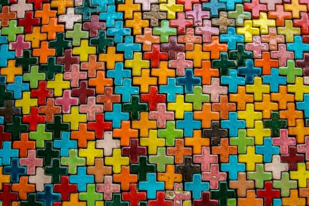Kolorowy ściana z cegieł tła wzoru tekstury rocznik