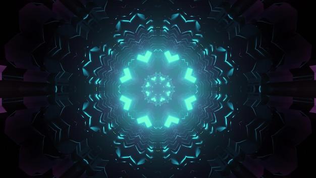 Kolorowy symetryczny korytarz w niebieskim oświetleniu neonowym z kalejdoskopowym wzorem projektowania 3d ilustracji