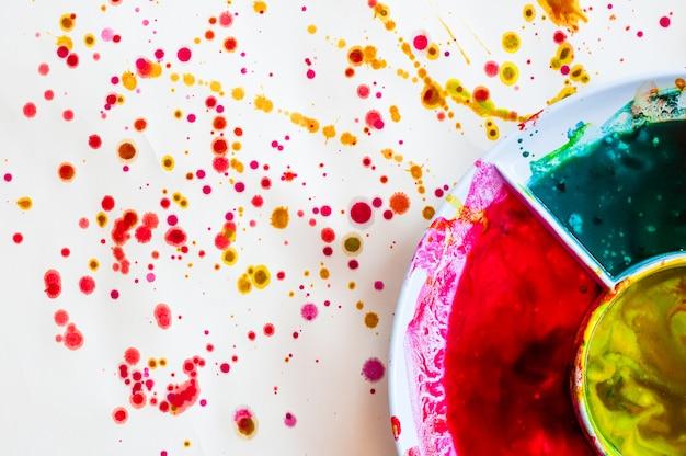 Kolorowy talerz na papierze akwarela malarstwo