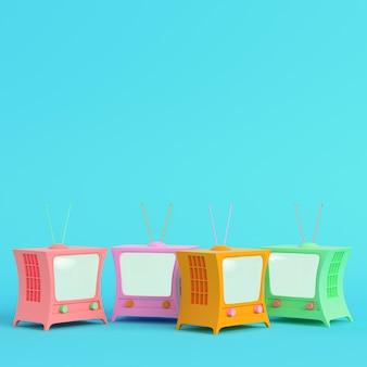 Kolorowy telewizor w stylu kreskówek na jasnoniebieskim w pastelowych kolorach