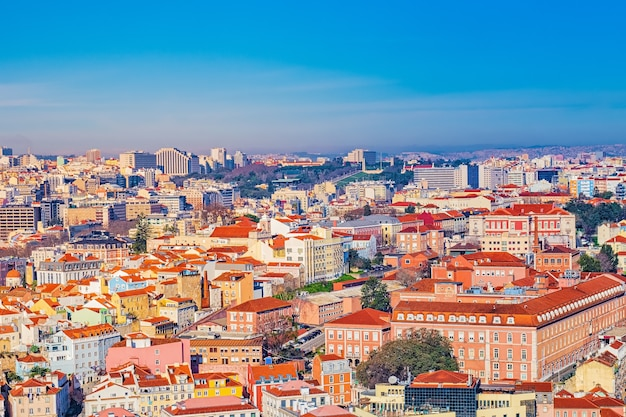 Kolorowy widok z góry na lizbonę, portugalia