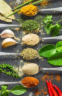 Kolorowy wiele pikantność i ziele na białym małym pucharze i łyżkach stawiamy na drewnianej desce