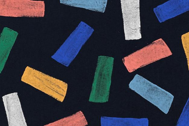 Kolorowy wzór nadruku na czarnym tlekolorowy kwadratowy wzór w tle ręcznie robione wydruki