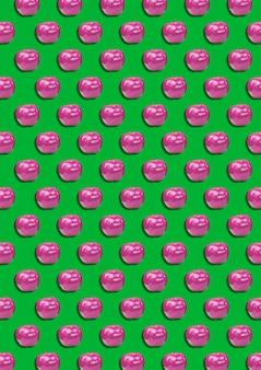Kolorowy wzór owoców z dojrzałych różowych jabłek, koncepcja jedzenia