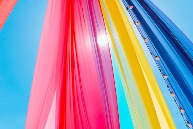 Kolorowy zasłony tekstury wzór, partyjny pojęcie