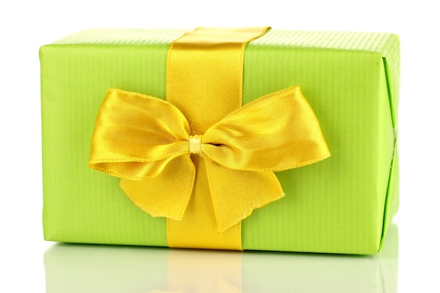 Kolorowy zielony prezent z kokardą na białym tle